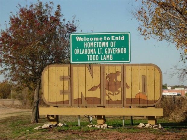 enid welcome sign