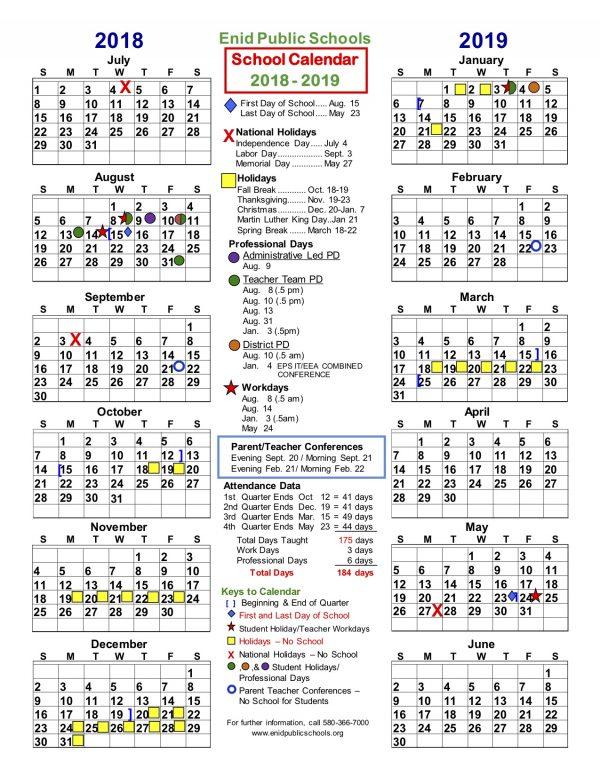 Enid School Calendar
