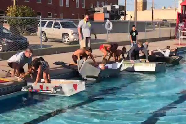 Black Knight Wins Cardboard Duct Tape Boat Race